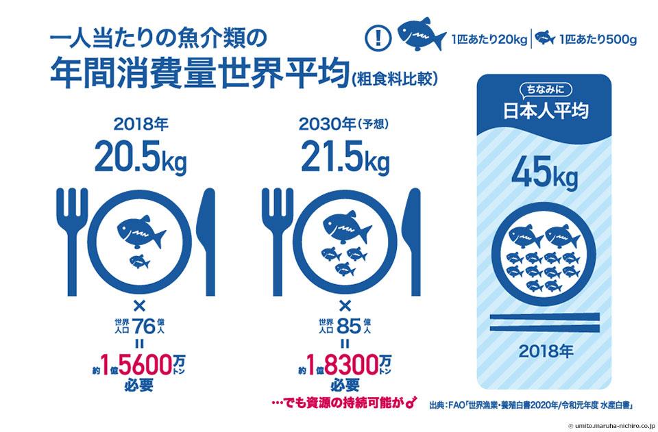 1人当たりの魚介類の年間消費量世界平均